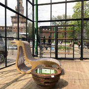 The X2Chair cardboard chaise longue by Lessmore designed by Giorgio Caporaso. Location: La Fenice greenhouse of Privitera Eventi. Milan Piazza Castello. DDN Phutura | Milan Design Week 2019
