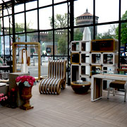 The eco-friendly cardboard furniture by Lessmore designed by Giorgio Caporaso. Location: La Fenice greenhouse of Privitera Eventi. Milan Piazza Castello. DDN Phutura | Milan Design Week 2019
