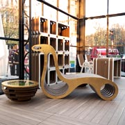 Ecodesign Collection by Lessmore: cardboard furnishings with gold leaf finishes designed by Giorgio Caporaso for Privitera Eventi. Milan Piazza Castello. DDN Phutura | Milan Design Week 20199
