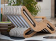 2onde chaise-longue in cartone rovere e teak
